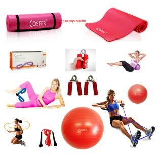 Cosfer Endpoint Pilates Seti 2 4mm Yoga Matı Kırmızı