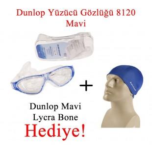 Dunlop Yüzücü Gözlüğü 8120 Mavi + Dunlop Mavi Lycra Bone Hediyeli