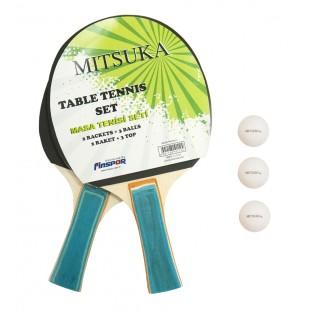 Mitsuka 862-2 Masa Tenis Seti - 2 Raket + 3 Top